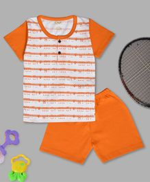 Kiwi Music Icon Print Half Sleeves Tee & Shorts Set - Orange