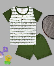 Kiwi Music Icon Print Half Sleeves Tee & Shorts Set - Green