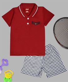 Kiwi Half Sleeves Tee & Checked Shorts Set - Red