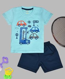 Kiwi Car & Giraffe Print Half Sleeves Tee With Shorts - Blue