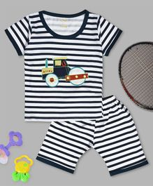 Kiwi Striped Half Sleeves Tee & Shorts Set - Blue