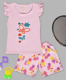 Kiwi Butterfly & Flower Embroidery Cap Sleeves Tee & Shorts Set - Pink