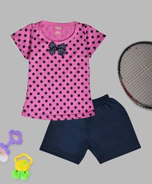 Kiwi Polka Dot Print Half Sleeves Tee & Shorts Set - Pink
