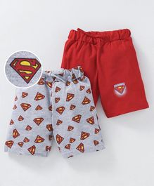 Eteenz Shorts Superman Print Pack of 2 - Red Grey