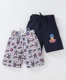 Eteenz Shorts Captain America Print Pack of 2 - Navy Blue