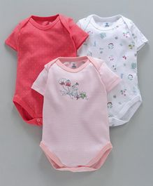 I Bears Half Sleeves Onesies With Stripes & Multi Print Pack of 3 - Multicolour