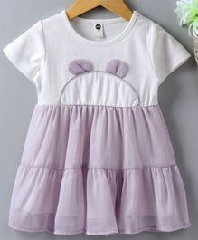 Meng Wa Short Sleeves Solid Color Frock - White & Purple