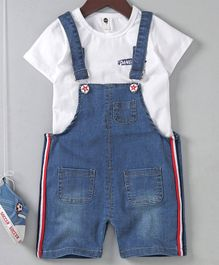 Meng Wa Denim Dungaree With Inner Tee - White Blue