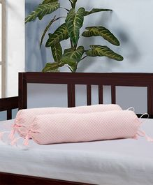 The Baby Atelier Organic Cotton Bolster Cover Set With Fillers - Pink