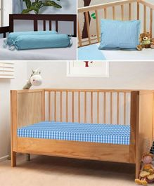 The Baby Atelier 100% Organic Baby Bedding Set Blue Checks