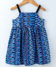 Pikaboo Abstract Print Sleeveless Dress - Blue