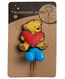 Little Nests Teddy Toothbrush Holder - Blue Yellow