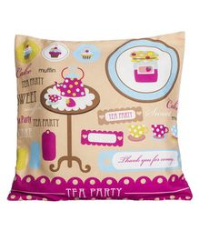 Little Nests Tea Party Printed Cushion Cover - Multicolour