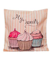 Little Nests Cupcake Printed Cushion Cover - Multicolour