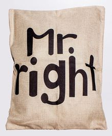 Little Nests Mr Right Printed Cushion Cover - Cream & Black