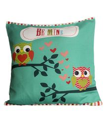 Little Nests Owl Printed Cushion Cover - Green