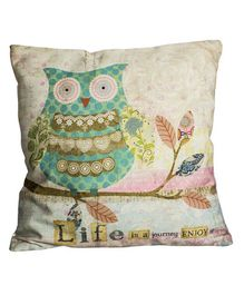 Little Nests Owl Printed Cushion Cover - Multicolour
