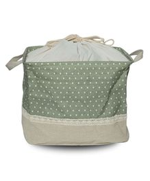 Little Nests Utility Basket Dots Print - Green