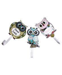Little Nests Owl Hooks Multicolor - Pack of 3