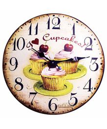 Little Nests Wall Clock Cupcake Print - Brown