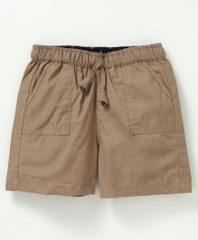 Snowflakes Solid Cotton Shorts  - Brown