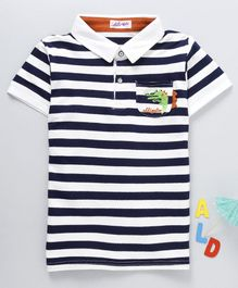 Meng Wa Striped Half Sleeves Polo T-Shirt - Blue & White