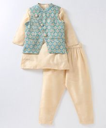 Babyoye Full Sleeves Cotton Poly Kurta And Pajama With Jacket - Beige Green