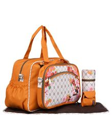 My Milestones Diaper Bag Duo Detach - Orange Floral