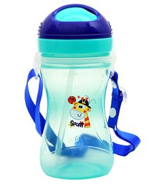 1st Step Sport Straw Sipper Bottle Giraffe Print Blue - 360 ml