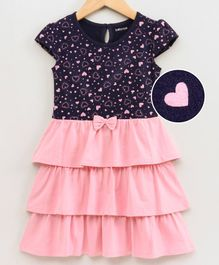Babyoye Cotton Cap Sleeves Frock Heart Print - Navy Blue Pink