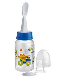 Beebaby Standard Neck Feeding Bottle With Spoon Blue - 125ml