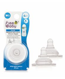 Beebaby Peristaltic Silicone Teat Medium Flow - Pack of 2