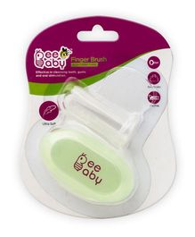 Beebaby Soft Silicone Finger Brush With Carry Case - Green
