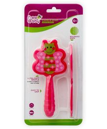 Beebaby Butterfly Shaped Soft Brush and Comb Set - Pink