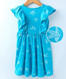 Tiara Ruffle Bird Print Sleeveless Dress - Blue