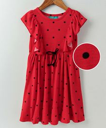 Tiara Polka Dot Print Sleeveless Ruffle Trim Dress - Red