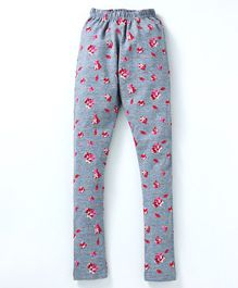 Tiara Flower Print Full Length Stretchable Leggings - Red