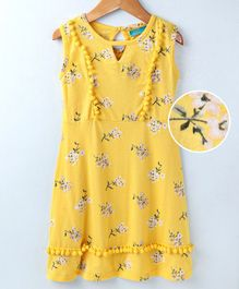 Tiara Flower Print Pom Pom Sleeveless Dress - Yellow