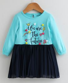 Babyoye Cotton Pleated Frock Pom Pom Applique - Blue