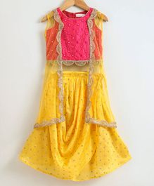 Babyoye Cotton Sleeveless Embellished Choli With Jacket & Jari Work Lehenga - Pink Yellow