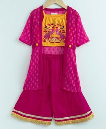 Babyoye Sleeveless Embroidered Top & Palazzo Set With Jacket - Yellow & Pink
