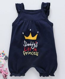 Mom's Love Cotton Sleeveless Rompers Crown Print - Navy Blue