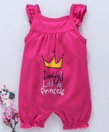 Mom's Love Cotton Sleeveless Rompers Crown Print - Pink