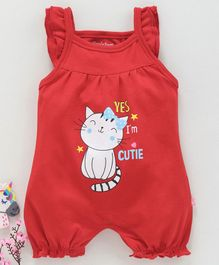 Mom's Love Sleeveless Romper Kitty Print - Red