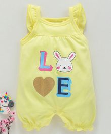 Mom's Love Cotton Sleeveless Rompers Love Print - Light Yellow