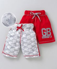 Game Begins Shorts With Drawstring Geometric Print Pack of 2 - Red Grey