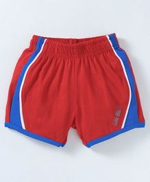 Game Begins Knee Length Shorts Text Print - Red Blue