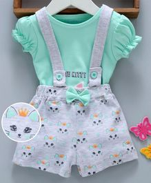 Mom's Love Dungaree Shorts With Inner Tee Kitty Print - Grey Sea Green