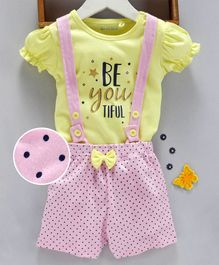 Mom's Love Dungaree With Cap Sleeves Tee Text Print - Yellow Pink
