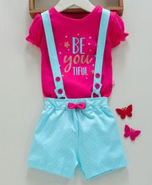 Mom's Love Dungaree With Cap Sleeves Tee Text Print - Pink Blue